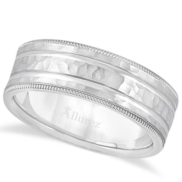 Men's Groove Wedding Band Shiny Hammer Finish 14k White Gold (7.5mm)