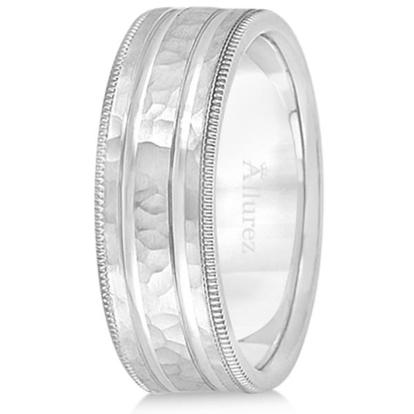 Men's Groove Wedding Band Shiny Hammer Finish Palladium (7.5mm)