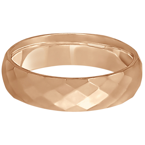 Modern Diamond Carved Wedding Ring 14k Rose Gold (6mm)