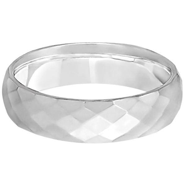 Modern Diamond Carved Wedding Ring 14k White Gold (6mm)