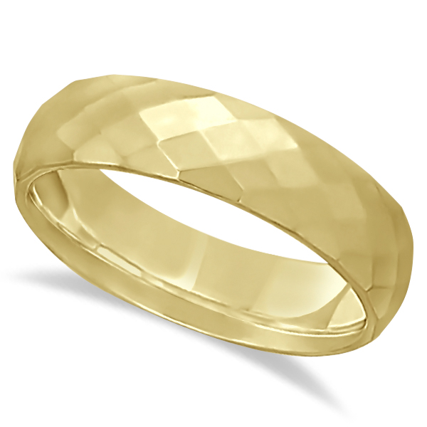 Modern Diamond Carved Wedding Ring 18k Yellow Gold (6mm)