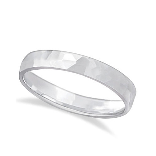Carved Hammered Finish Wedding Ring Band 14k White Gold (3mm)