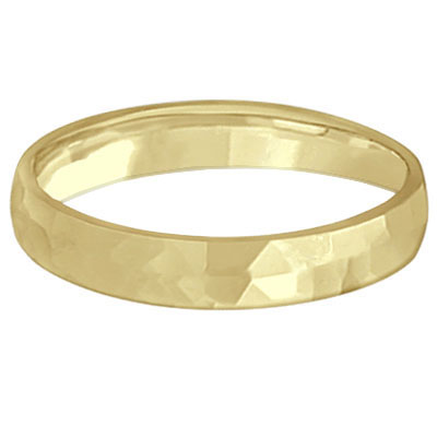 Carved Hammered Finish Wedding Ring Band 14k Yellow Gold (3mm)