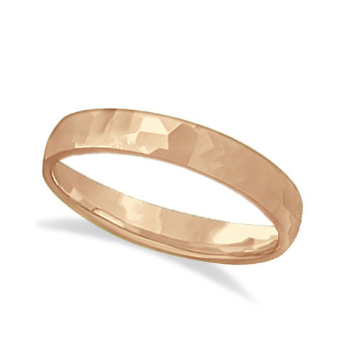 Carved Hammered Finish Wedding Ring Band 18k Rose Gold (3mm)