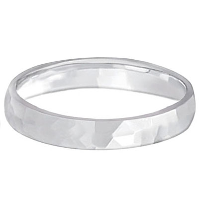 Carved Hammered Finish Wedding Ring Band Platinum (3mm)