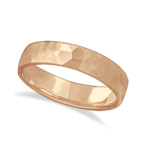 Men's Hammered Finished Carved Band Wedding Ring 14k Rose Gold (5mm)
