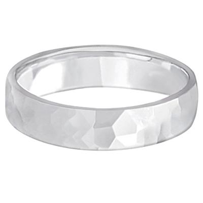 Men's Hammered Finished Carved Band Wedding Ring 14k White Gold (5mm)