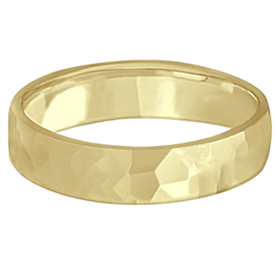 Men's Hammered Finished Wedding Ring Band Carved 14k Yellow Gold (5mm)