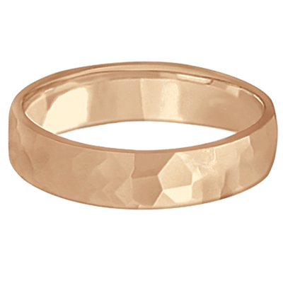 Men's Hammered Finished Carved Band Wedding Ring 18k Rose Gold (5mm)