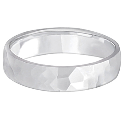 Men's Hammered Finished Carved Band Wedding Ring 18k White Gold (5mm)