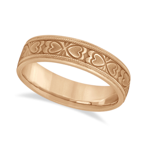 Mens Carved Wedding Band Heart Shape Design 14k Rose Gold (5.5mm)