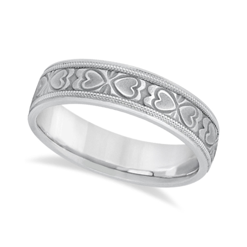 Mens Carved Wedding Band Heart Shape Design 14k White Gold (5.5mm)