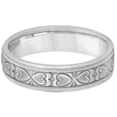 Mens Carved Wedding Band Heart Shape Design 18k White Gold (5.5mm)