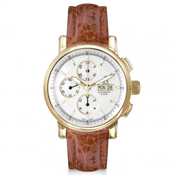 Allurez Men's Swiss Chronograph Crocodile Strap 18k Yellow Gold Watch