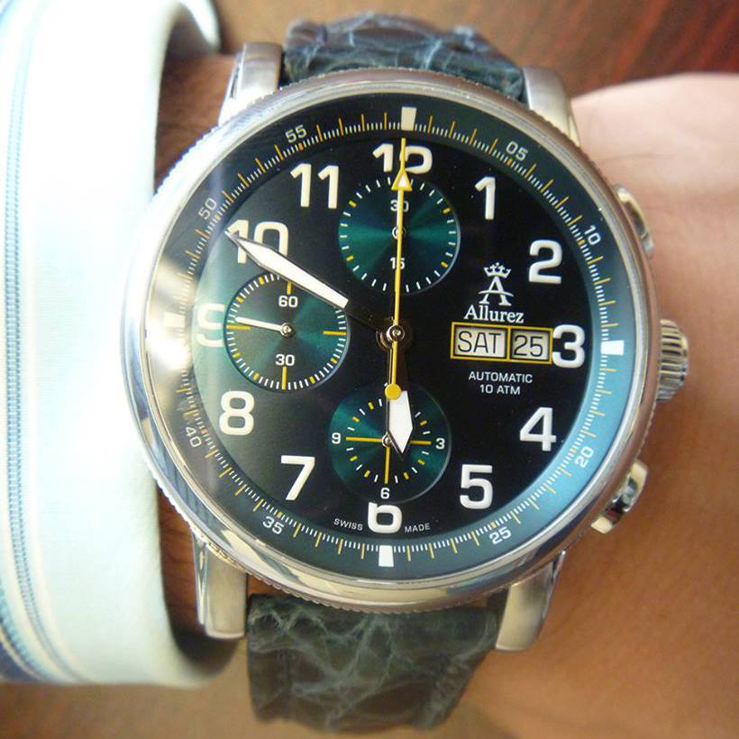 Allurez Swiss-Made Blue Crocodile Skin Auto-Mechanical Chrono-Timepiece