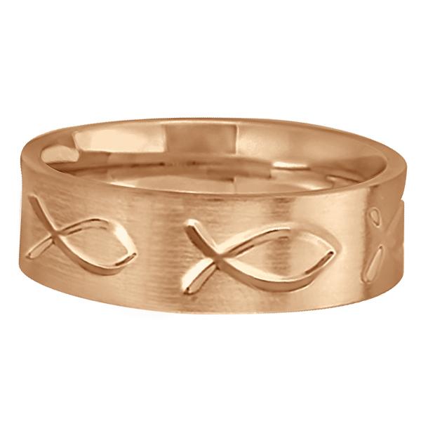 Engraved Christian Fish Wedding Ring 14k Rose Gold (7mm)