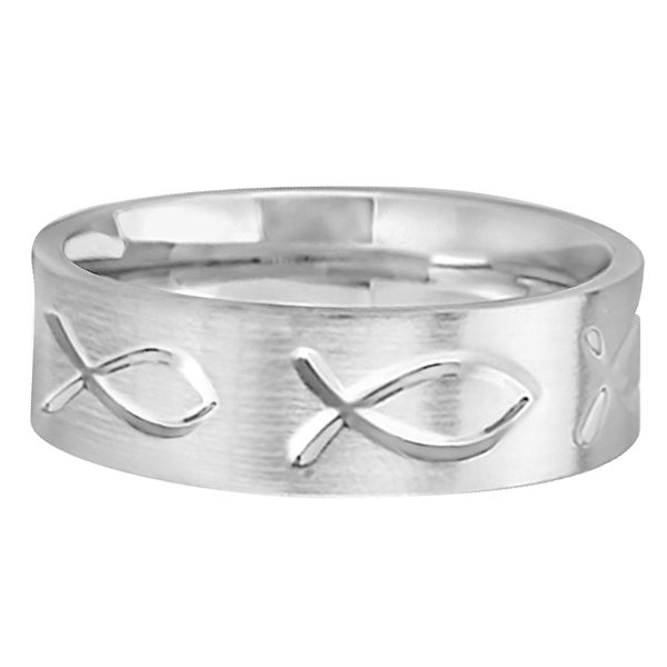 Engraved Christian Fish Wedding Ring 18k White Gold (7mm)
