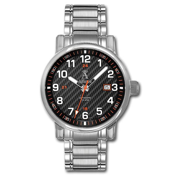 Allurez Mens Auto-Mechanical Carbon-Dial Swiss-Made Heirloom Timepiece