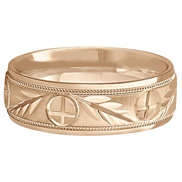 Men's Christian Leaf and Cross Wedding Band 14k Rose Gold (7mm)