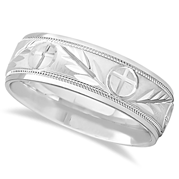 Men S Christian Leaf And Cross Wedding Band 14k White Gold 7mm Ub1169