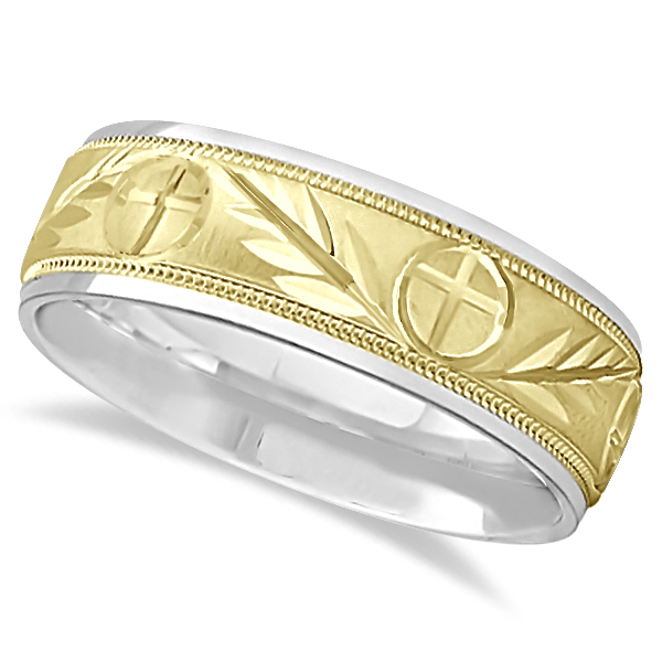 Men's Christian Leaf and Cross Wedding Band 18k Two Tone Gold (7mm)