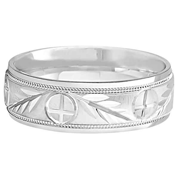 Men's Christian Leaf and Cross Wedding Band Platinum (7mm)