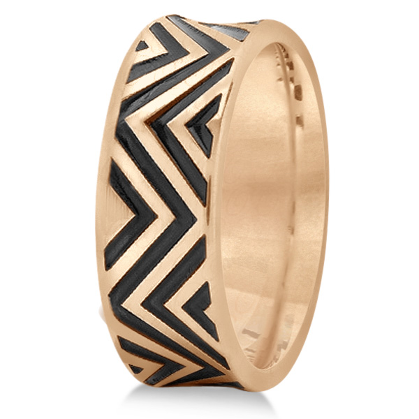 Unisex Zigzag Carved Pattern Wedding Ring Band 14k Rose Gold 8mm