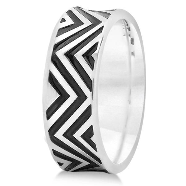 Unisex Zigzag Carved Pattern Wedding Ring Band 14k White Gold 8mm