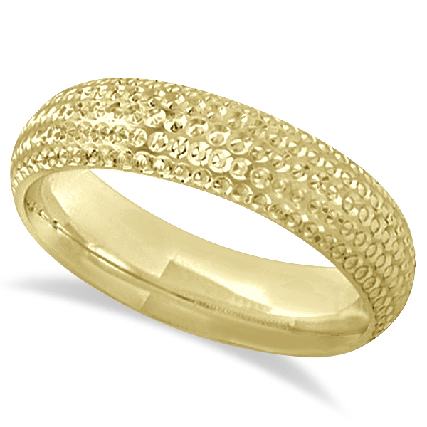 Fancy Carved Contemporary Designer Wedding Ring 18k Yellow Gold (5mm)