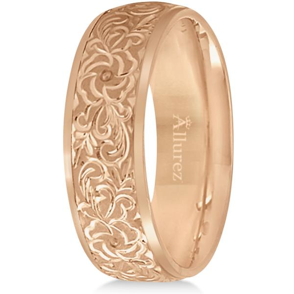 Hand-Engraved Flower Wedding Ring Wide Band 14k Rose Gold (7mm)
