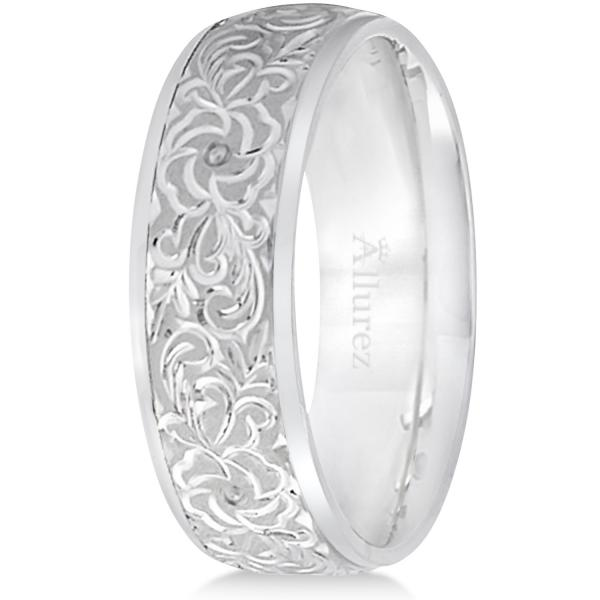 Hand-Engraved Flower Wedding Ring Wide Band 14k White Gold (7mm)