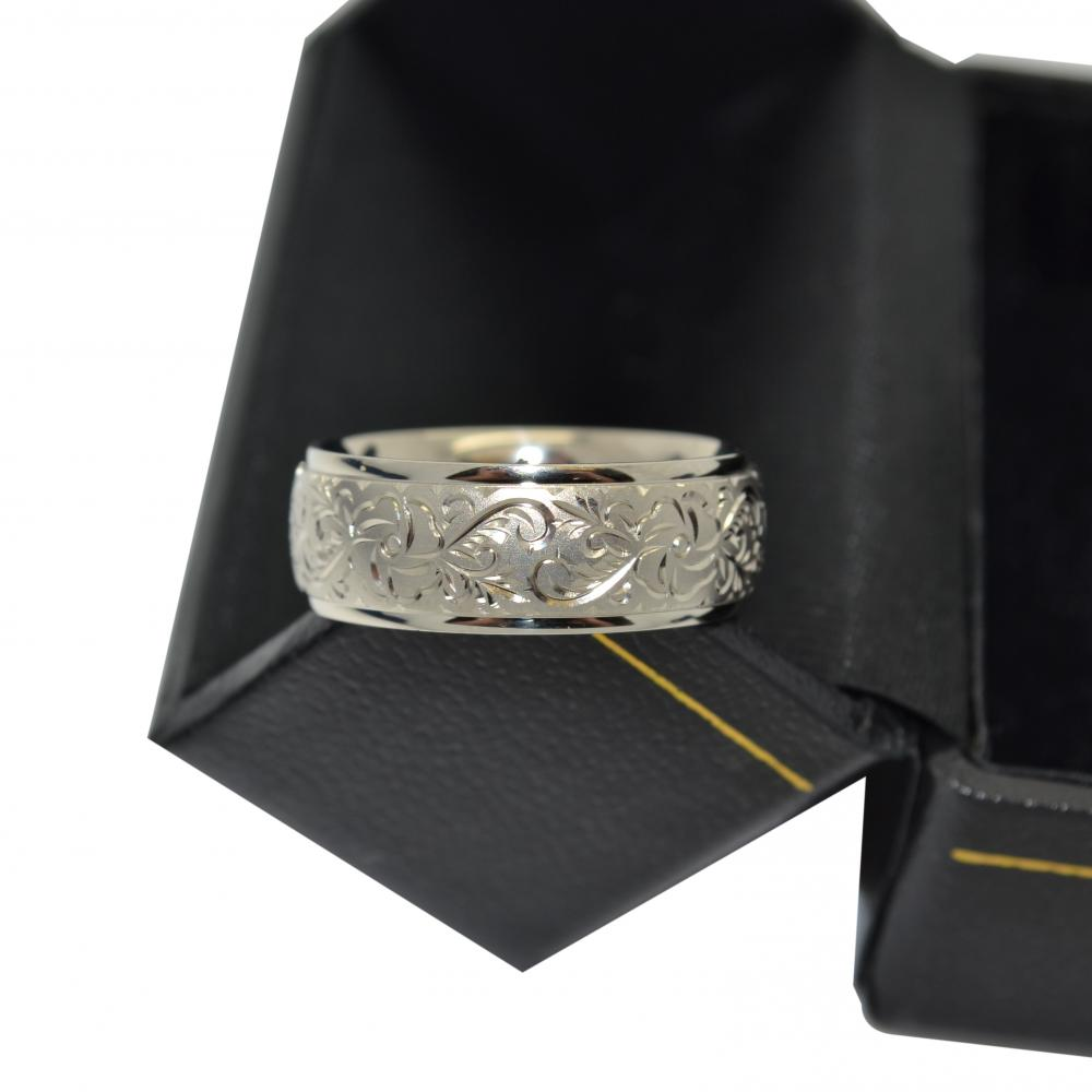 Hand Engraved Flower Wedding Ring Wide Band 14k White Gold