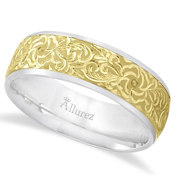 hand engraved flower wedding ring wide band 18k two tone gold 7mm. Black Bedroom Furniture Sets. Home Design Ideas
