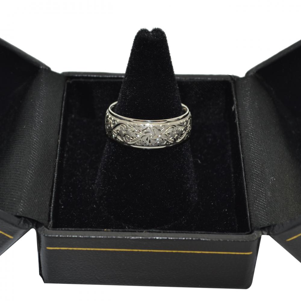 Hand-Engraved Flower Wedding Ring Wide Band 18k White Gold (7mm)