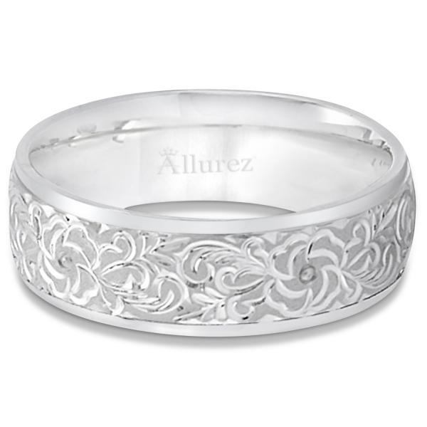 Hand-Engraved Flower Wedding Ring Wide Band Palladium (7mm)