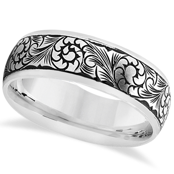 Fancy Hand Engraved Flower Design Wedding Band In Platinum