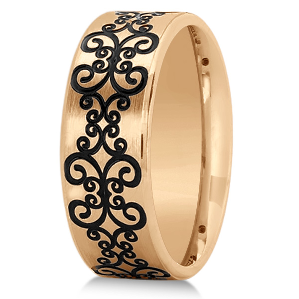 Unisex Floral Design Wedding Band in Plain Metal 14k Rose Gold 8mm