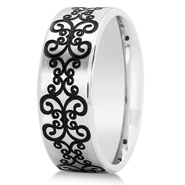 Unisex Floral Design Wedding Band in Plain Metal 18k White Gold 8mm