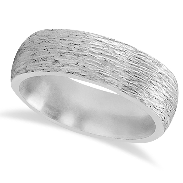 Hand Made Textured Wedding Band in 18k White Gold with Satin Finish