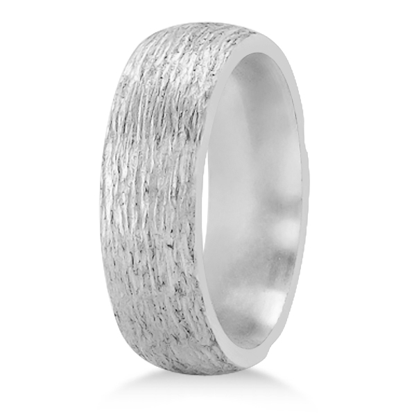 Hand Made Textured Wedding Band in Platinum with Satin Finish