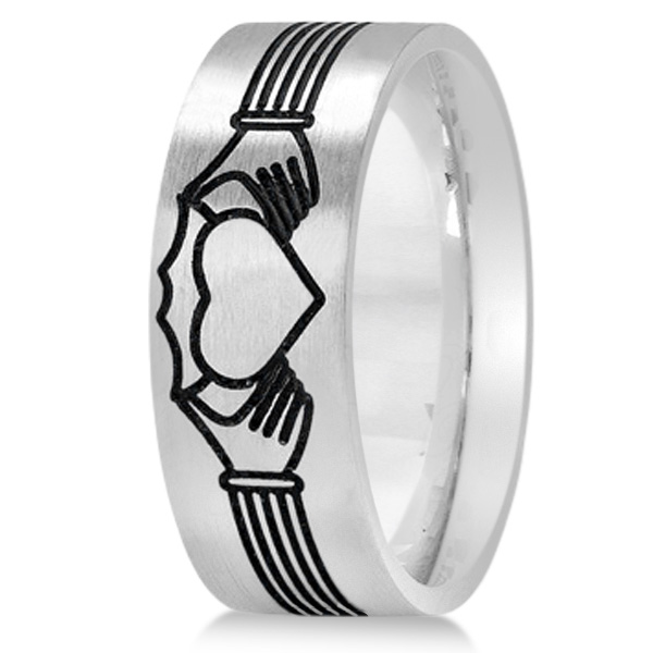 Unisex Claddagh Wedding Band in Plain Metal 14k White Gold 8mm