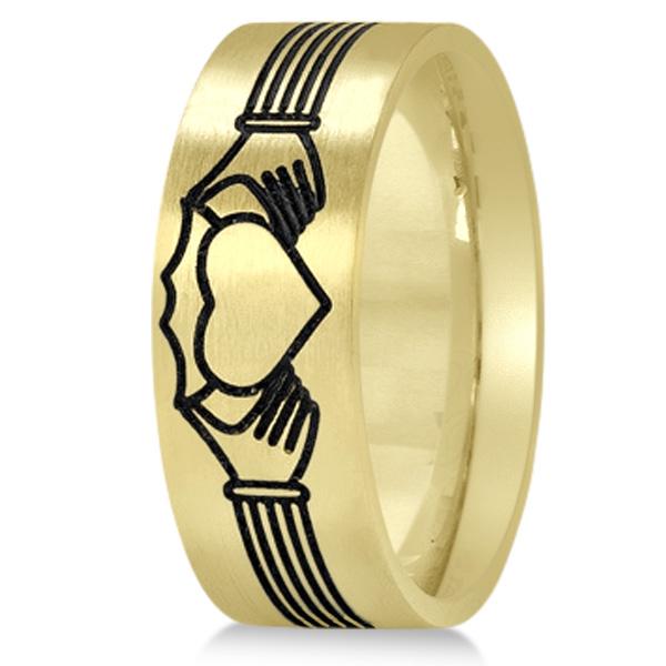 Unisex Claddagh Wedding Band in Plain Metal 14k Yellow Gold 8mm