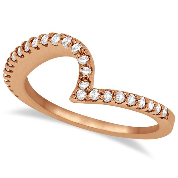 Contour Diamond Wedding Band Prong Set in 14k Rose Gold 0.25ct