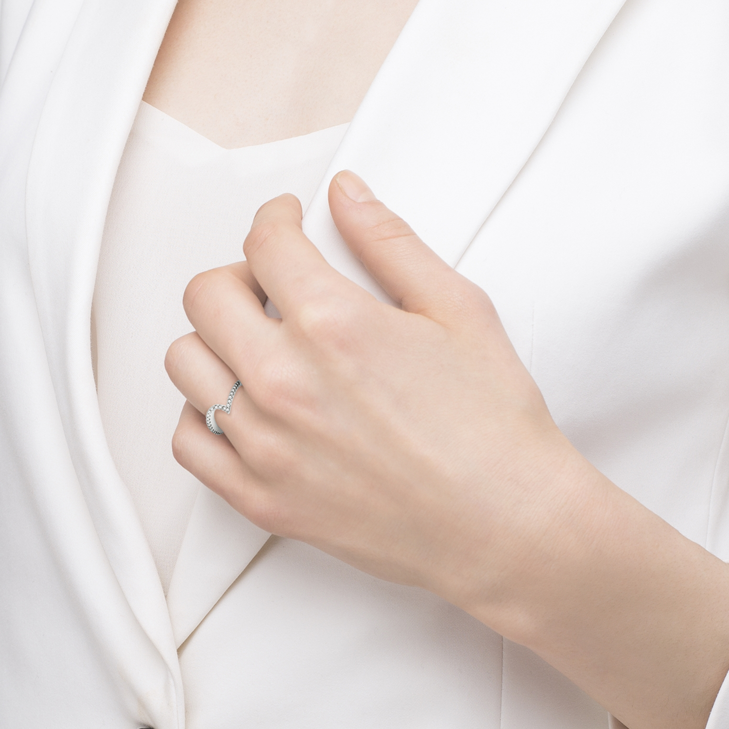 Contour Diamond Wedding Band Prong Set in 14k White Gold 0.25ct