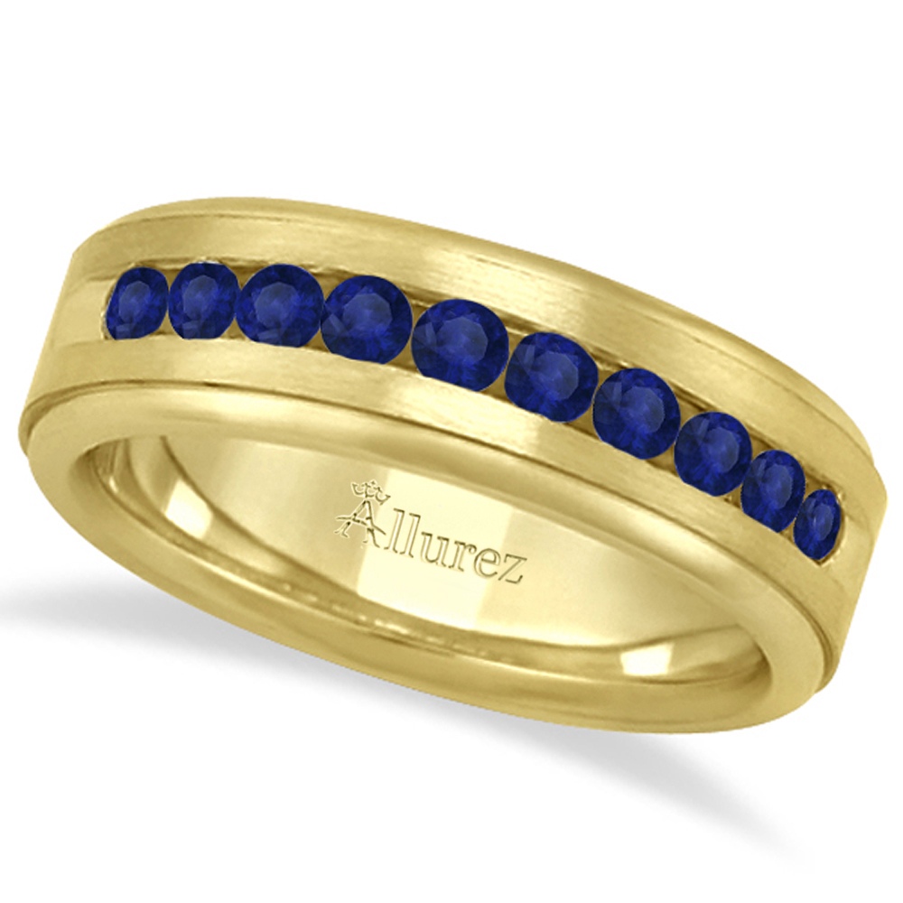 sapphire mens wedding band Men s Channel Set Blue Sapphire Wedding Band 18k Yellow Gold