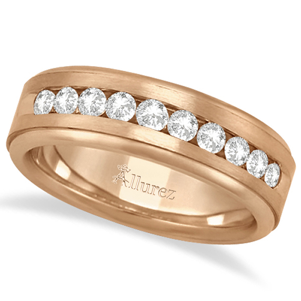 Men's Channel Set Diamond Ring Wedding Band 14k Rose Gold (0.25ct)