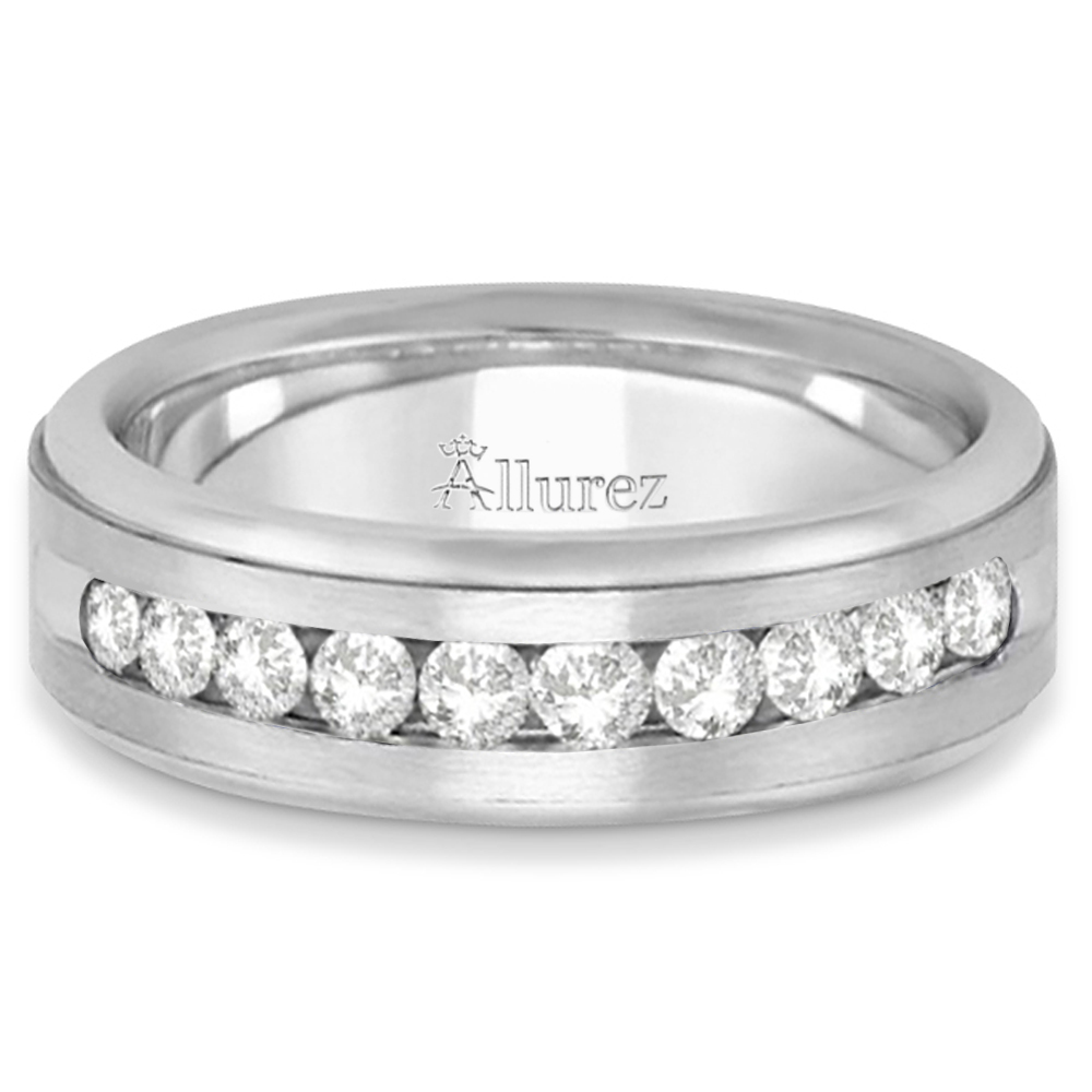 Men's Channel Set Diamond Ring Wedding Band 14k White Gold (0.25ct)