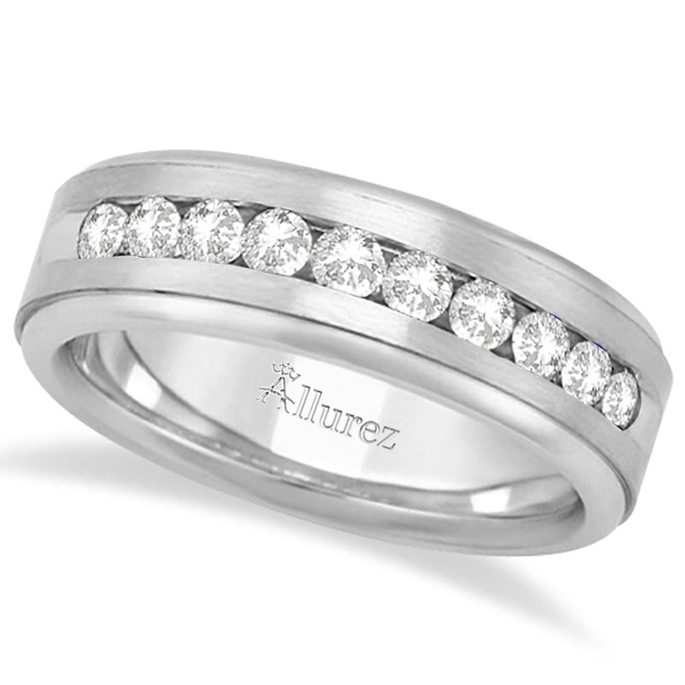 Men's Channel Set Diamond Ring Wedding Band 18k White Gold (0.25ct)