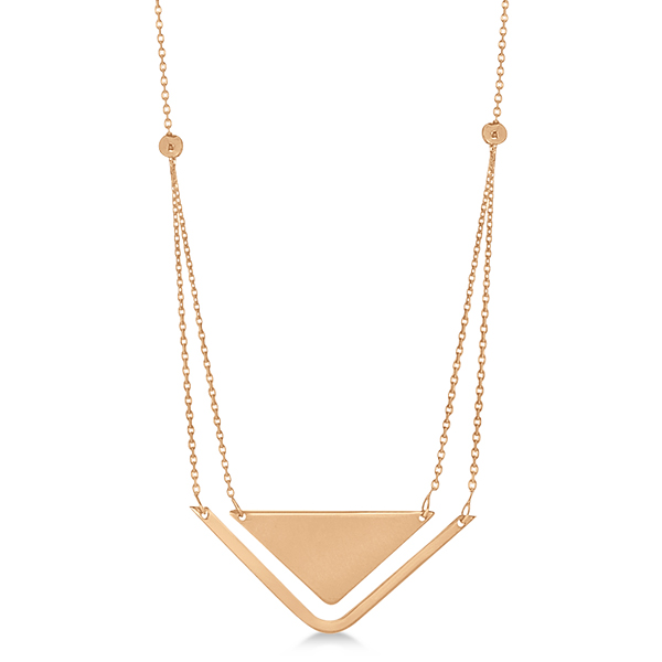 Adjustable Triangle Pendant Layered Necklace 14k Rose Gold