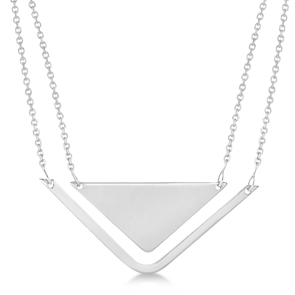 Adjustable Triangle Pendant Layered Necklace 14k White Gold